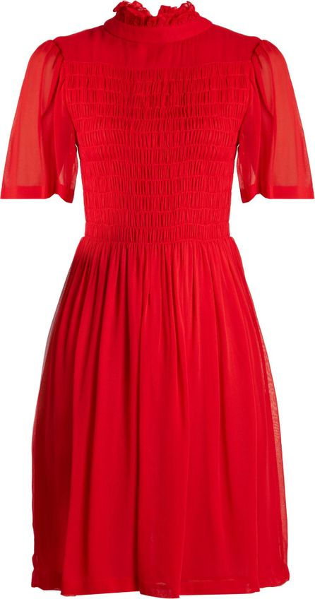 Alexachung Short-sleeved smocked georgette dress