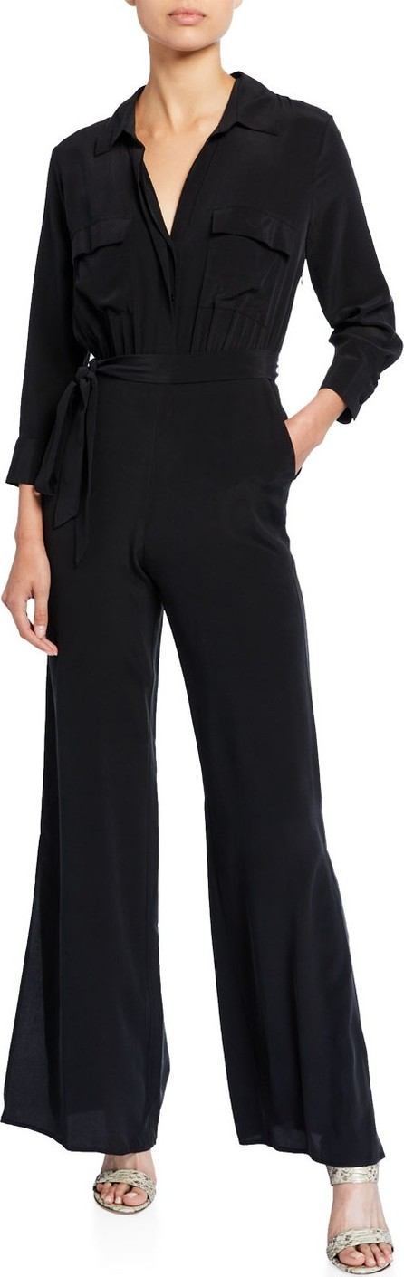 L'AGENCE Teddy Collared Silk Jumpsuit