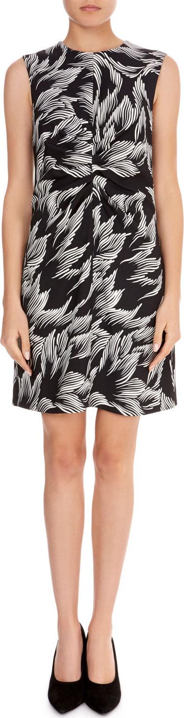 VICTORIA, VICTORIA BECKHAM Sleeveless Round-Neck Ruched-Center A-Line Palm-Print Dress