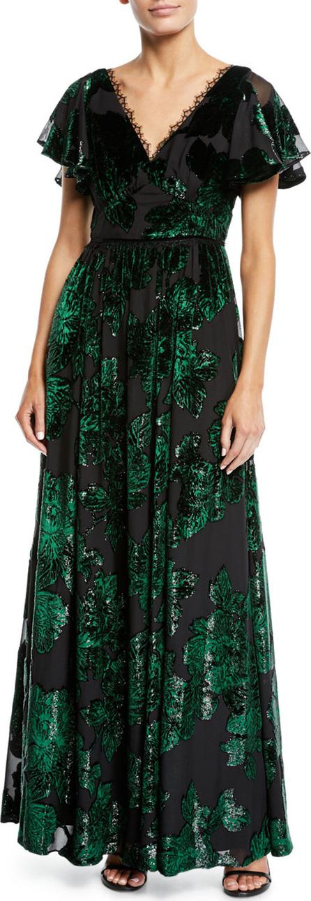 Marchesa Notte V-Neck Velvet Burnout Lace-Trim Gown