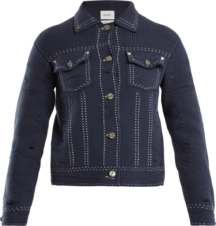 Barrie Contrast-stitch distressed cashmere jacket