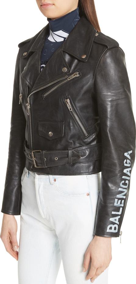 Balenciaga Logo Sleeve Leather Moto Jacket