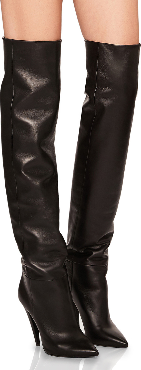 Saint Laurent - Era Leather Thigh High Boots