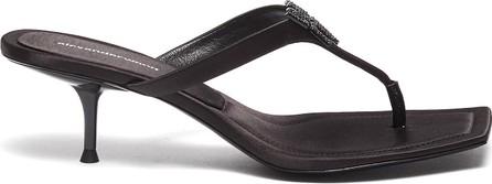 Alexander Wang Bianca crystal logo satin thong heeled sandals