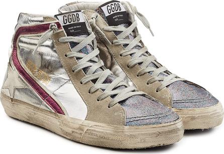 Golden Goose Deluxe Brand Slide Suede and Metallic Leather Sneakers
