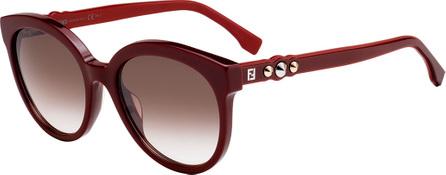 Fendi Studded Two-Tone Round Acetate Sunglasses