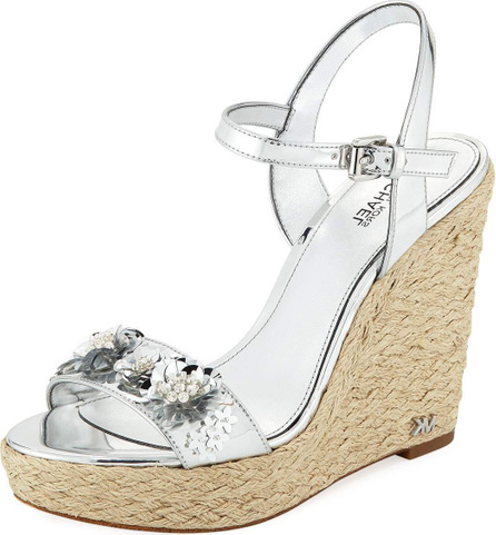 MICHAEL MICHAEL KORS Jill Metallic Leather Espadrille Wedge Sandal with Sequined Flower