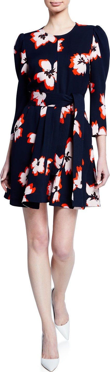 A.L.C. Stella Floral Silk 3/4-Sleeve Short Dress