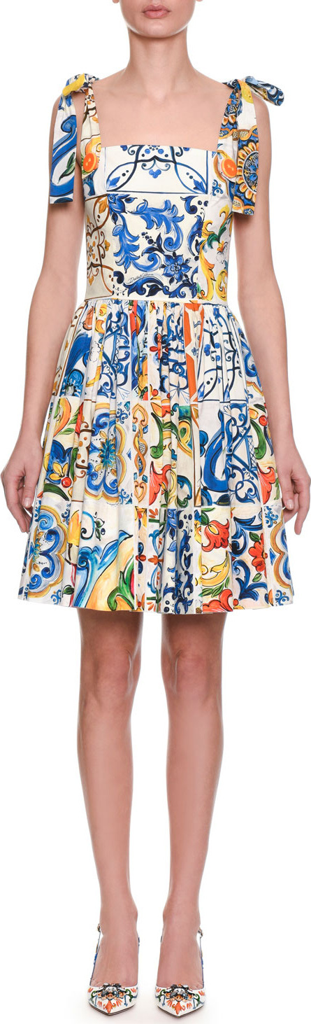 Dolce & Gabbana Sleeveless Fit-and-Flare Tile Print Cotton Dress w/ Ties