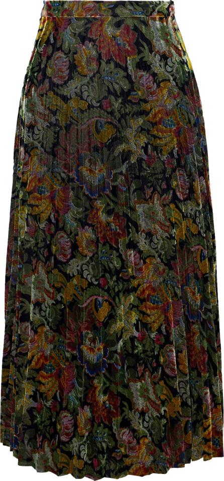Sandro Ellen pleated floral-print velvet midi skirt