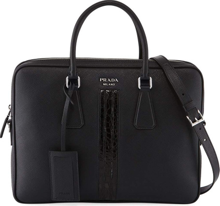 Prada Slim Saffiano Leather/Crocodile Triangle Briefcase