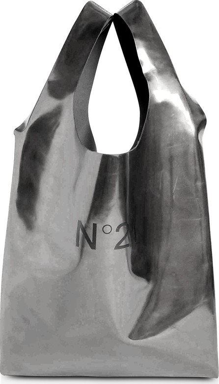 N°21 Holographic Silver Signature Shopping Bag