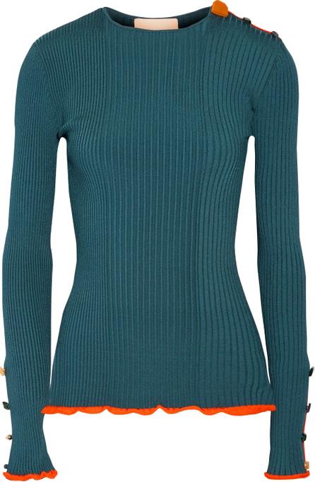 Roksanda Rhea embellished ribbed stretch-knit sweater