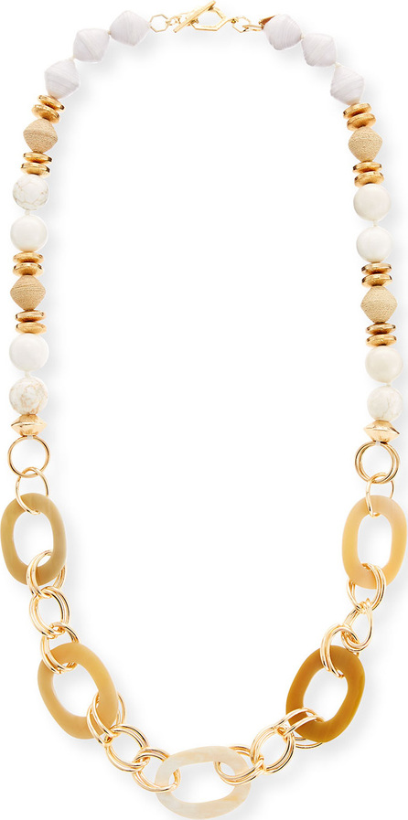 Akola Horn Link & Raffia Chain Necklace