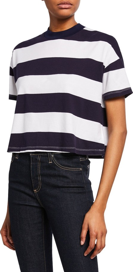 AG Jeans Drew Striped Crewneck Short-Sleeve Cropped Tee