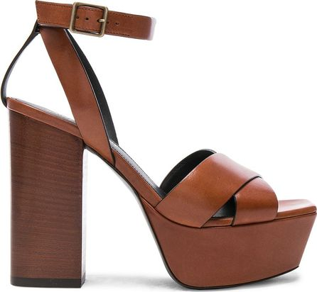 Saint Laurent Leather Farrah Cross Strap Platform Sandals