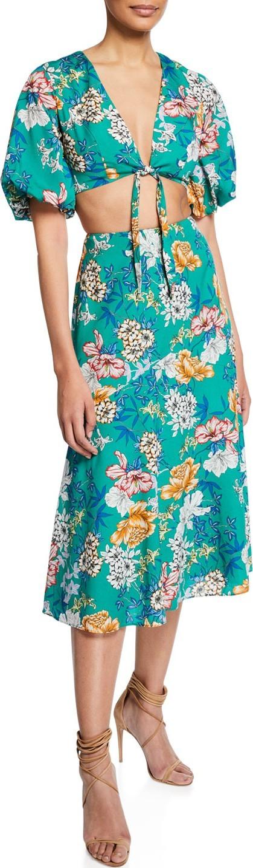 Aidan by Aidan Mattox Floral-Print Two-Piece Tie-Front Crop Top & Skirt Set