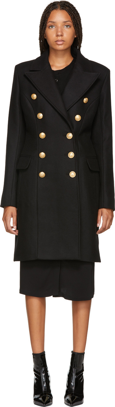Balmain Black Wool & Cashmere Double-Breasted Coat