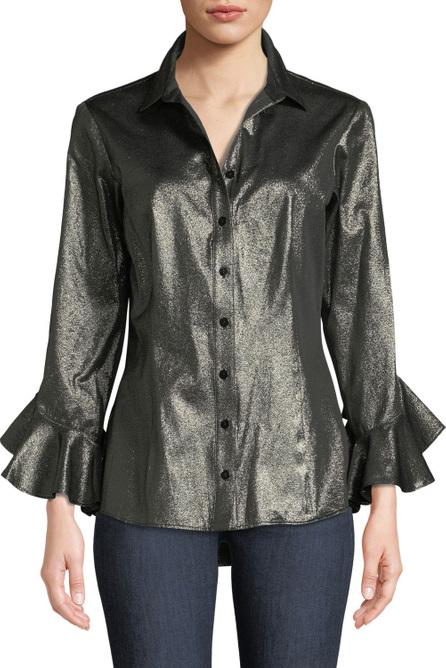 Finley Carmella Gold Rush Ruffle-Sleeve Shirt