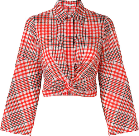 Ganni Knot front checked blouse