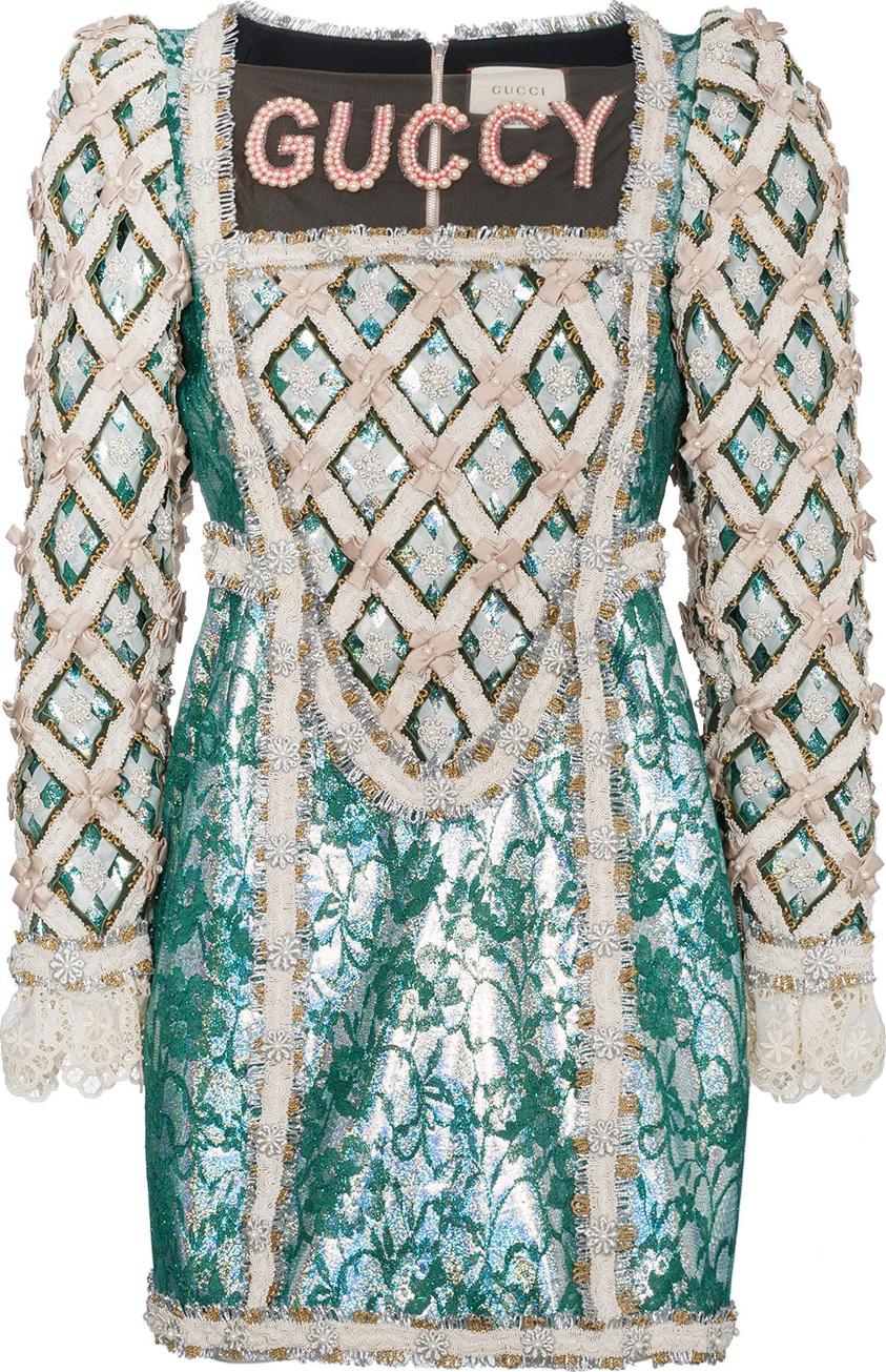 Gucci - Pearl Embellished Guccy Silk Mini Dress
