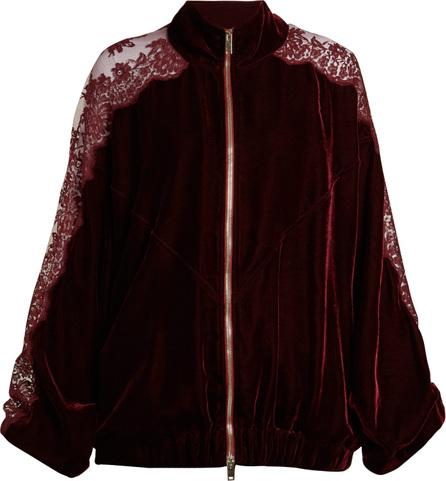 Stella McCartney Lace insert stripe-trimmed zip-up sweatshirt