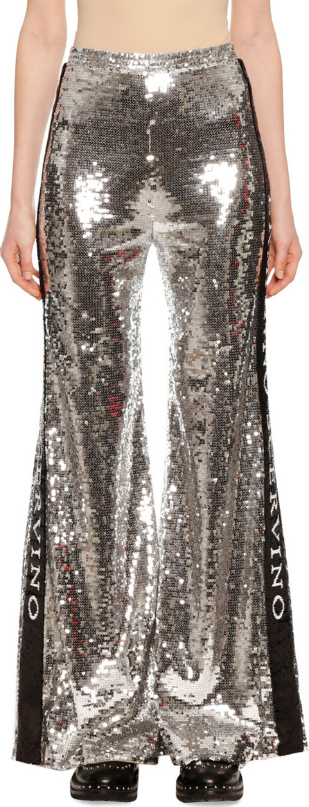 Ermanno Scervino Sequin Wide-Leg Side-Stripe Pants
