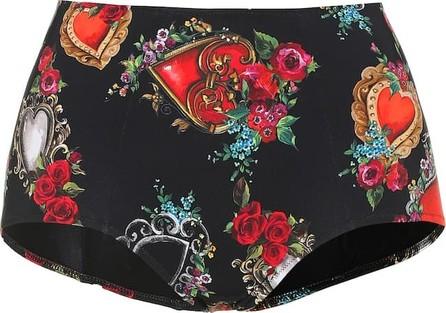 Dolce & Gabbana Printed high-rise bikini bottoms