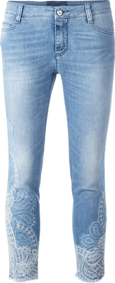 Ermanno Scervino lace inserts cropped jeans