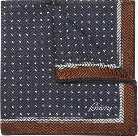 Brioni Printed Wool and Silk-Blend Herringbone Pocket Square