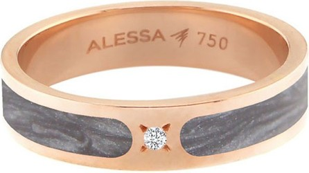 Alessa Jewelry Spectrum Painted 18k Rose Gold Stack Ring w/ Diamond, Gray, Size 9