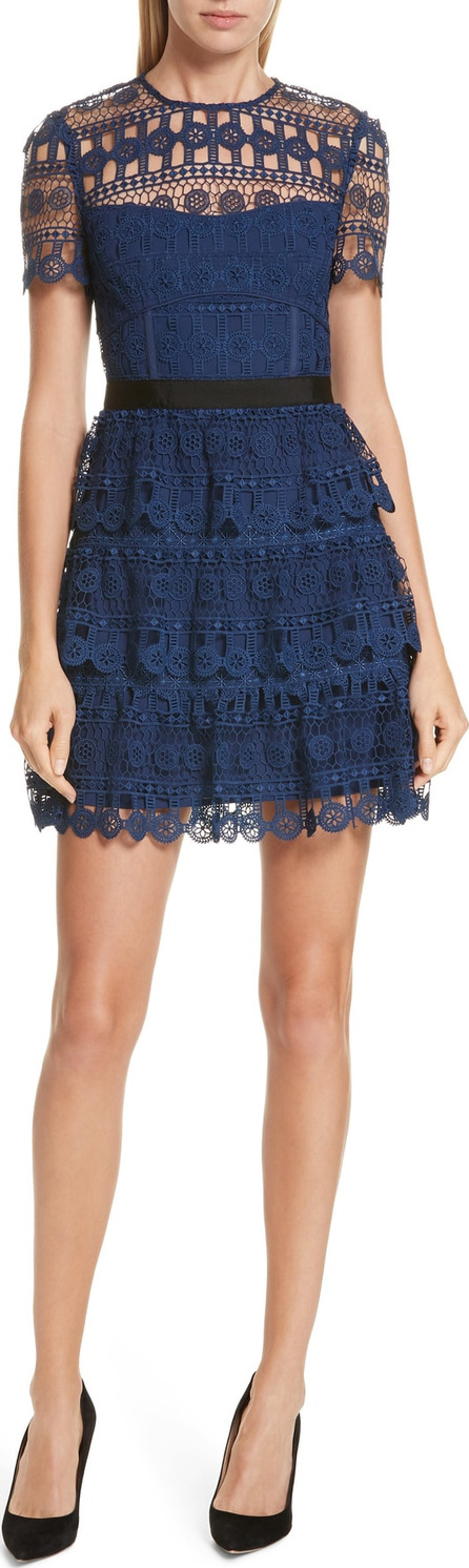 Self Portrait Tiered Guipure Lace Minidress