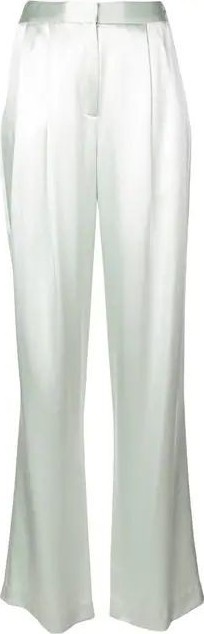 Adam Lippes SILK CHARMEUSE PLEATED TROUSER