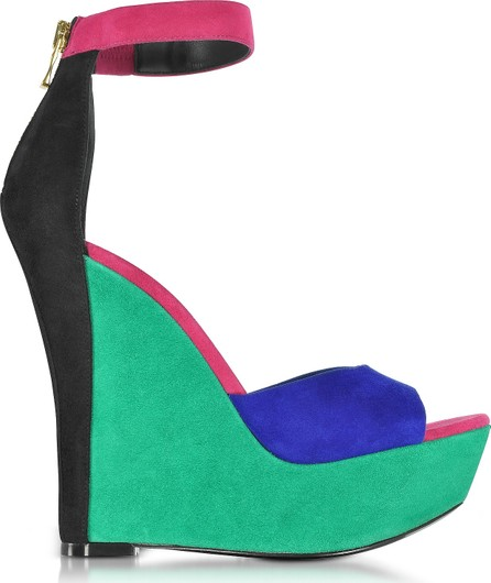 Balmain Zia Multicolor Suede Wedge Sandal