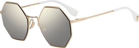 Fendi Geometric Mirrored Metal Sunglasses