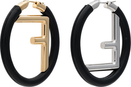 Fendi Logo Leather Hoop Earrings