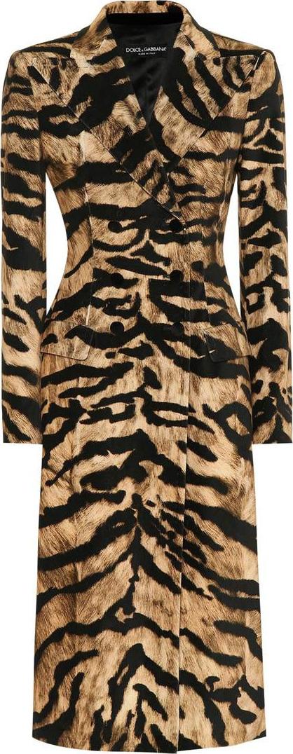 Dolce & Gabbana Tiger-print stretch cotton coat