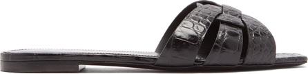 Saint Laurent Tribute leather crocodile design slides
