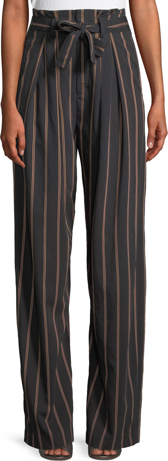 Vince - Belted Stripe Wide-Leg Pants