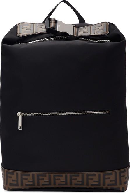 Fendi Black 'Forever Fendi' Rolled Clip Backpack