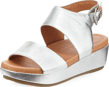 Gentle Souls Lori Metallic Leather Comfort Wedge Sandal