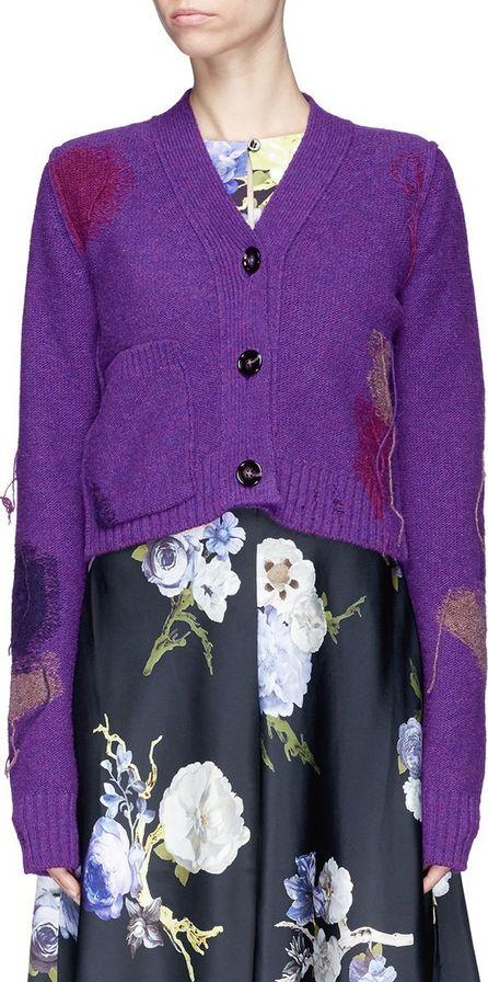 Acne Studios 'Lysa' fringe intarsia patch cropped wool cardigan