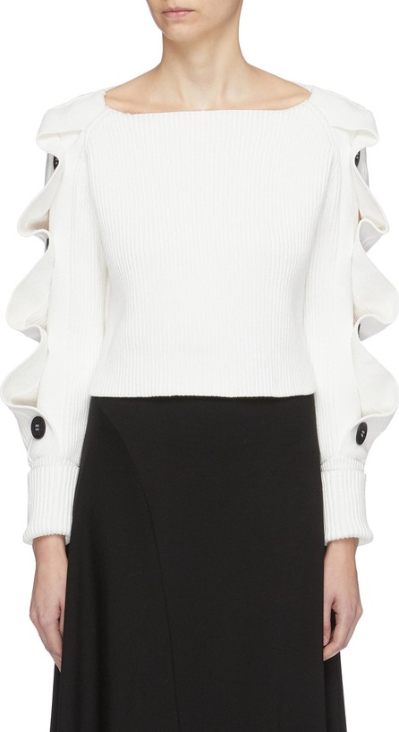 Enfold Wavy button sleeve cropped sweater