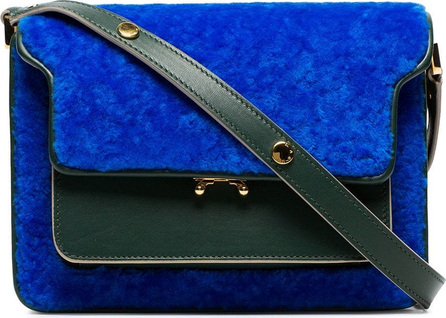 Marni Blue and green trunk shearling and leather shoulder bag