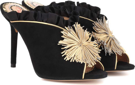 Charlotte Olympia Suede and satin mules