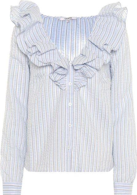 Ganni Charron striped seersucker top