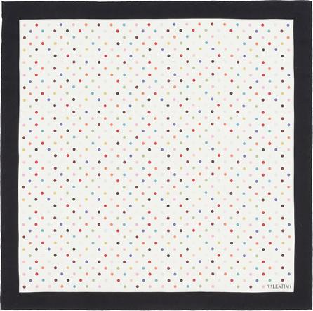 Valentino 'Rainbow Dots' print silk twill scarf