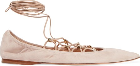 Valentino Rockstud lace-up suede ballet flats