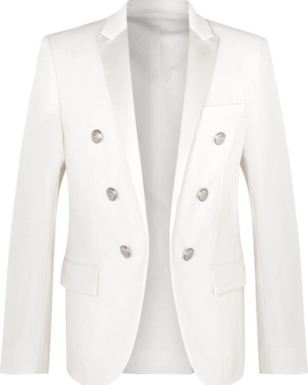 Balmain White Slim-Fit Double-Breasted Satin-Trimmed Wool Blazer