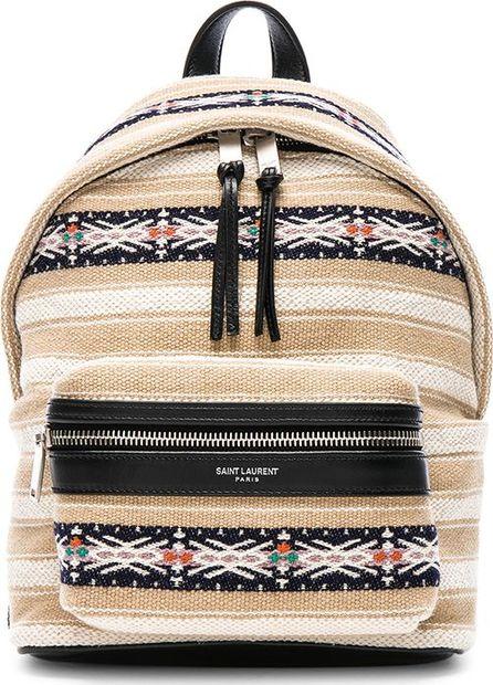 Saint Laurent Toy Canvas & Leather Ikat Strap City Backpack
